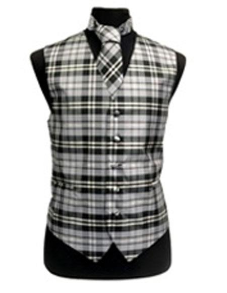 ID#VJ16411 Slim Fit Polyester Plaid Design Black/White/Grey Groomsmen Vest ~ Waistcoat ~ Waist coat/Bow Groomsmen Ties Fashion Set