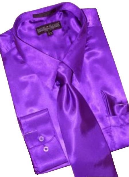 Satin purple pastel color dress shirt tie hanky combo for Dress shirts and tie combos sale