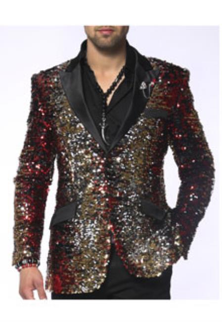 Red Gold Silver Black Color Jacket