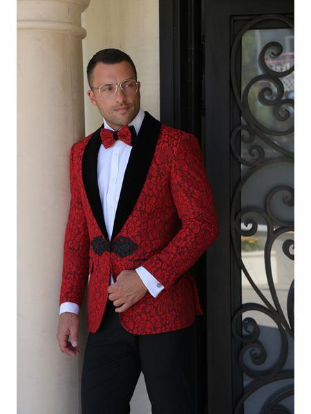 Red  Jackets Blazer Shawl Lapel One Button Cheap Fashion Big and Tall Large Man ~ Plus Size Plus