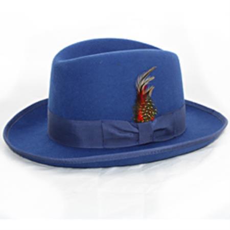 harvey style GODFATHER  Blue Wool fabric Fedora Hat 869639197e24