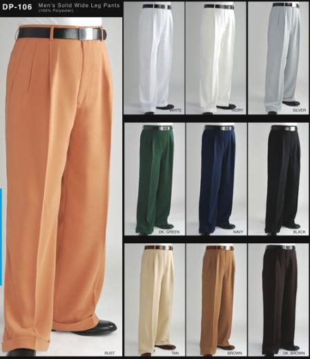 Retro Clothing for Men | Vintage Men's Fashion Long length rise big leg slacks Fashion Wide Leg Pant $60.00 AT vintagedancer.com