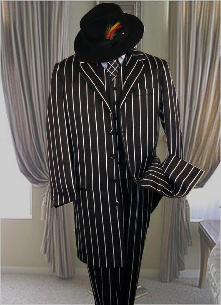1940s Men's Fashion Clothing Styles SHIMMERY GANGSTER Dark color black And pronounce visible Pronounce White Stripe  Pinstripe Fashion Long length er Jacket Suits for Men 179 $180.00 AT vintagedancer.com