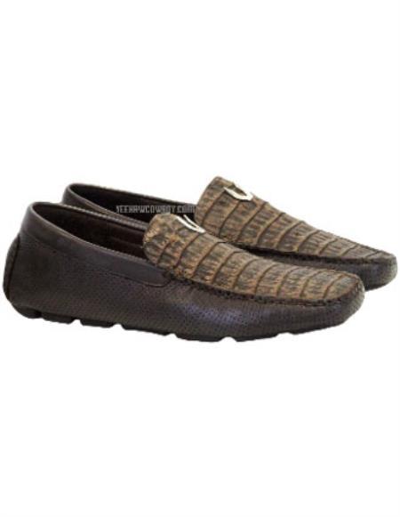 Vestigium Genuine Caiman Belly Loafers Sanded Brown