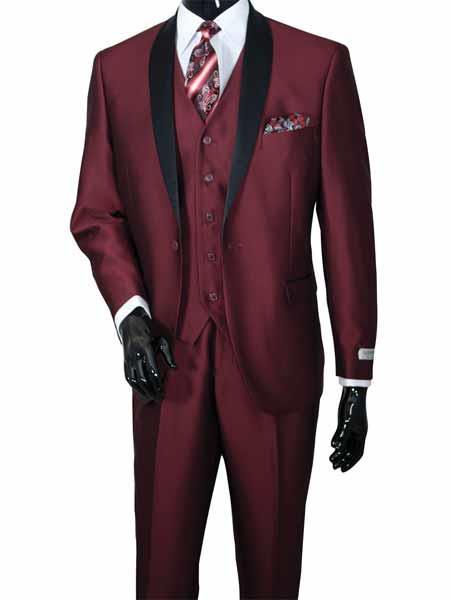 Shawl Lapel Burgundy Color Suit