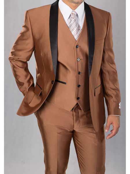 Shawl Lapel Cognac Color Suit