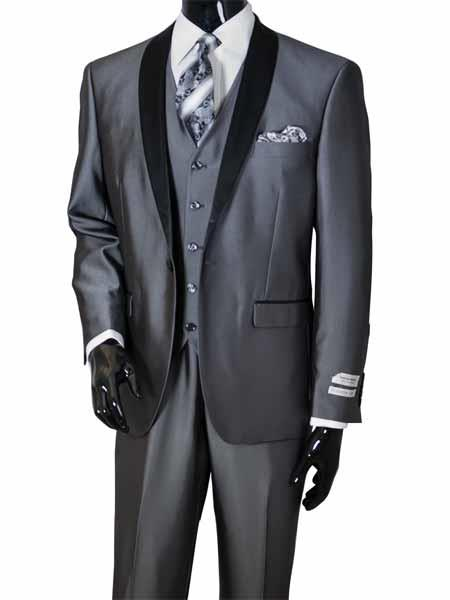 ID#NM824 Men's Metal Gray 3 ~ Three Piece Shawl Lapel Vested Sharkskin Shiny Black Lapel Toddler Suits for Prom ~ And Perfect For Wedding Groomsmen Tuxedo / Graduation Homecoming Outfits