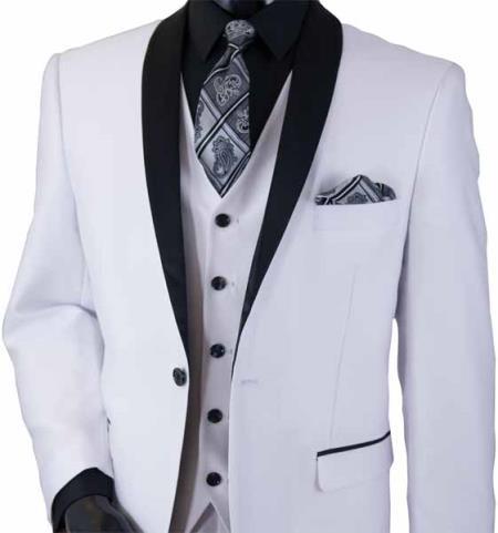 Shawl Lapel White Vest Suit