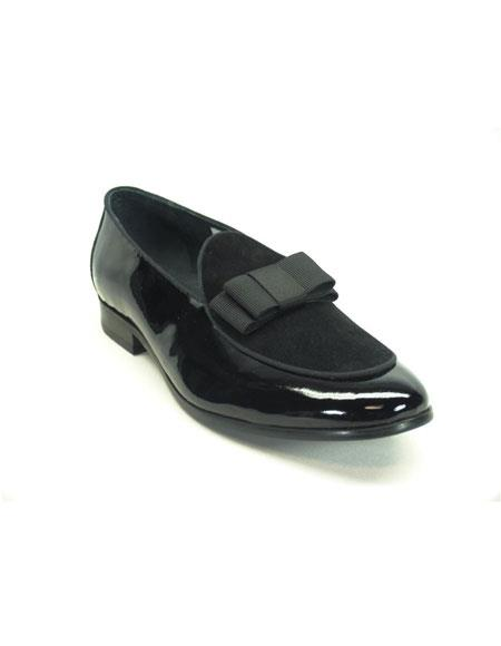 Shiny Slip On Formal Black Dress Shoes With Bow