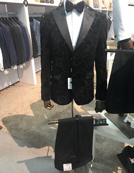 Shiny Black Peak Lapel Suit
