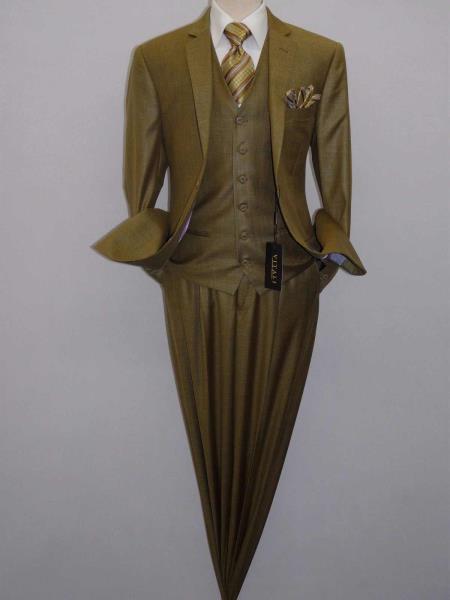Shiny Dijon Mustard Color Suit