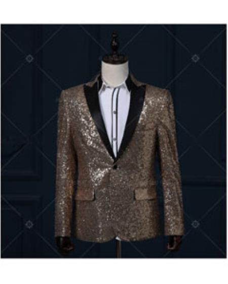 Tuxedo Dinner Jacket Best Cheap Blazer For Affordable Cheap Priced Unique Fancy For Men Available Big Sizes on sale Men Shiny Gold / Yellow & Black Real Sequin Glitter With Black Affordable Sport Coats Sale