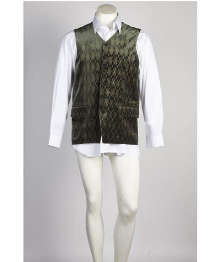 Shiny Olive Color Velvet Vest