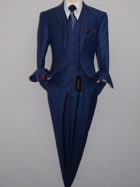 Shiny Royal Blue Vest Suit