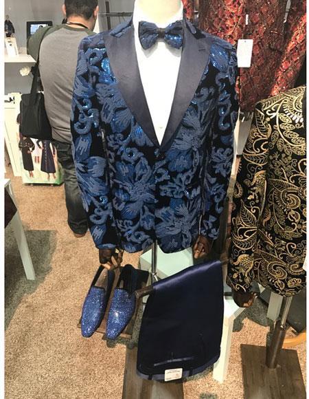 Shiny Royal Floral Designed Suit