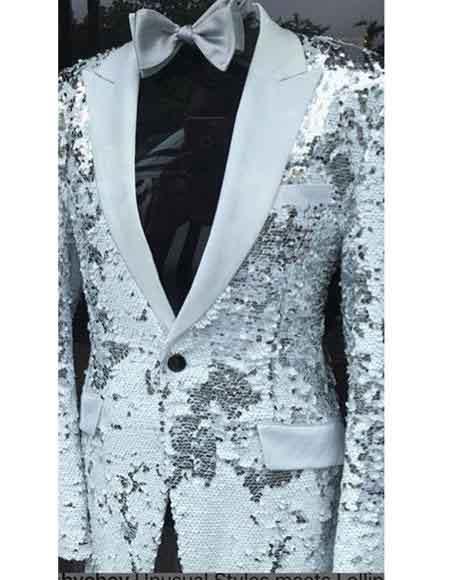 Shiny Sequin White Silver Tuxedo Black Lapel Sport Jacket
