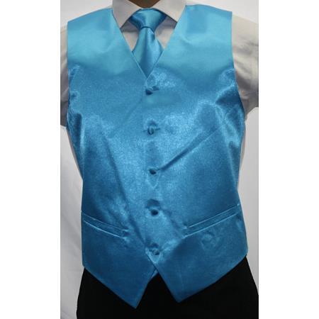 Shiny Turquoise 3 Piece Vest