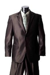 Shiny Two Buttons Brown Suit