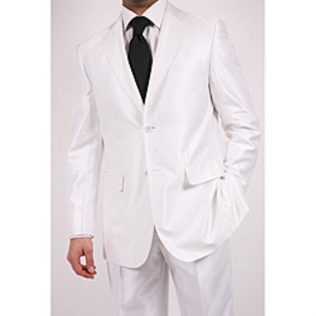 Shiny White Two Button Suit