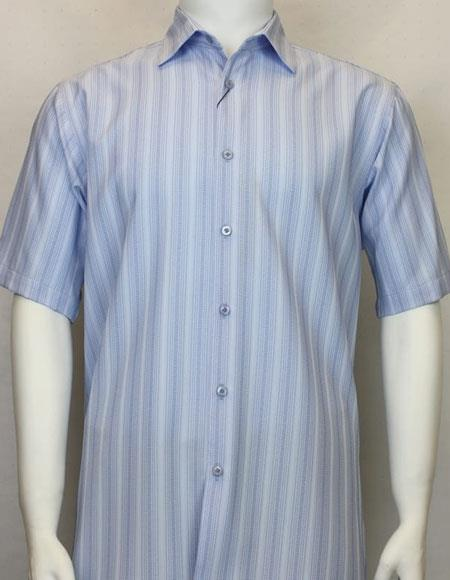 Short Sleeve Collared Neck Shadow Stripe Light Blue Cheap Fashion Clearance Shirt Sale Online For Men