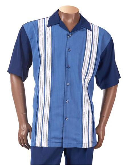 1950s Mens Shirts | Retro Bowling Shirts, Vintage Hawaiian Shirts Short Sleeve Sectional Design Button Up Navy Casual Leisure Suits $126.00 AT vintagedancer.com