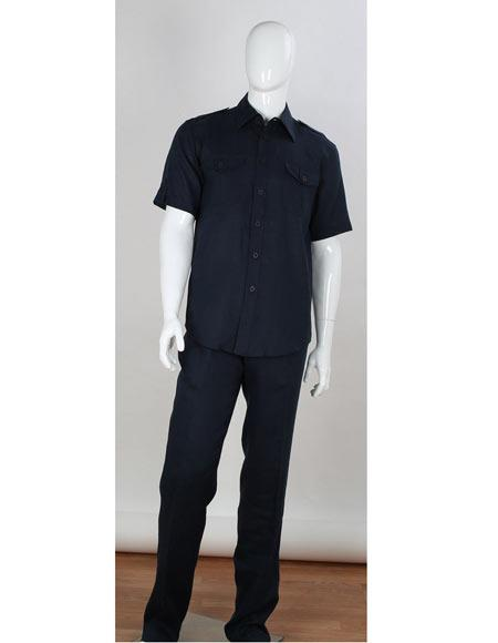 Short Sleeve Navy Shirt With Cuffed Pants Double Chest Pockets Linen Walking Suit