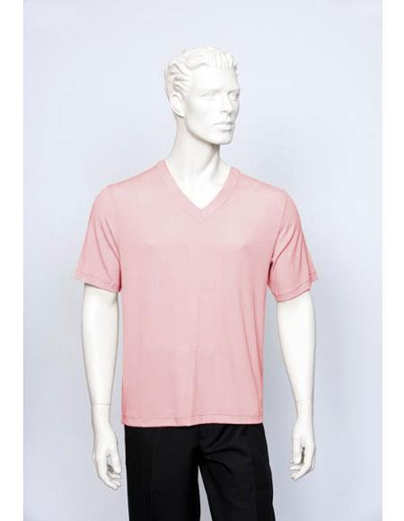 Short Sleeve Ribbed Crew Neck V-Neck Pink Sweaters