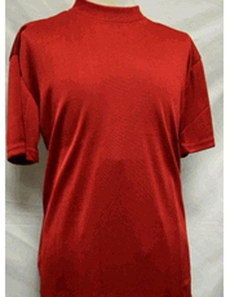 1960s – 1970s Mens Shirts- Dress, Mod, Disco, Turtleneck Short Sleeve Red Stylish Mock Neck Shiny Shirt $28.00 AT vintagedancer.com