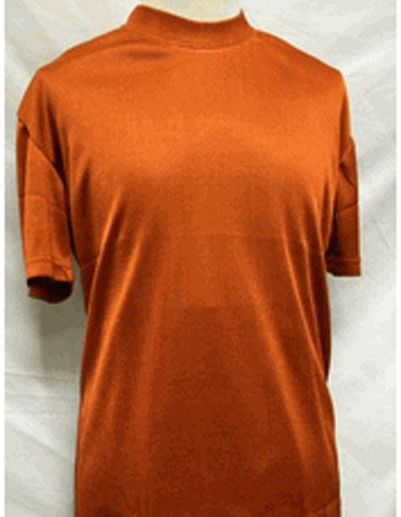 1960s – 1970s Mens Shirts- Dress, Mod, Disco, Turtleneck Short Sleeve Rust Stylish Mock Neck Shiny Shirt $28.00 AT vintagedancer.com