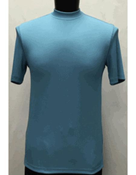1960s – 1970s Mens Shirts- Dress, Mod, Disco, Turtleneck Short Sleeve Sky Blue Stylish Classy Mock Neck Shiny Shirt $28.00 AT vintagedancer.com