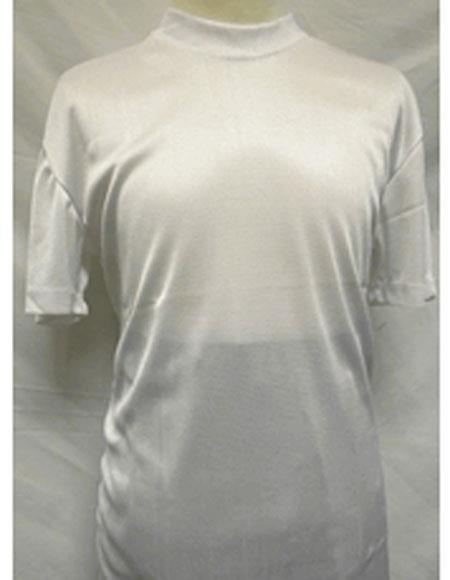 1960s – 1970s Mens Shirts- Dress, Mod, Disco, Turtleneck Short Sleeve White Stylish Mock Neck Shiny Shirt $28.00 AT vintagedancer.com