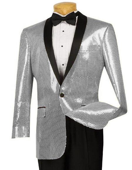 Tuxedo Silver Sequin Shiny Paisley Black Lapel Blazer
