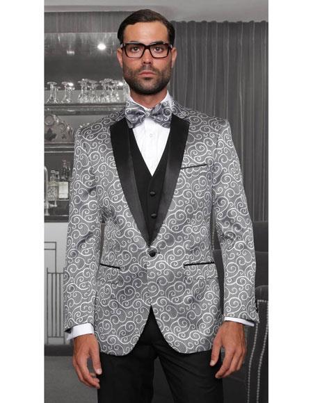 Silver Swirl Pattern Fashion Suits
