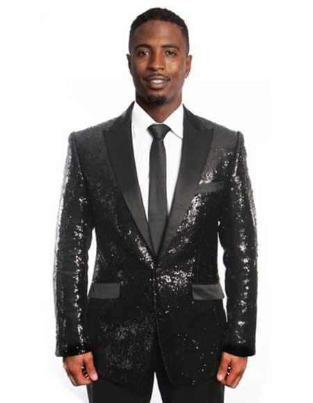 Sequin Blazer Mens Black/Black Lapel Sequin Tuxedo / Dinner Jacket Blazer Sport Coat
