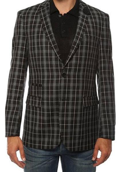 Black Inexpensive ~ Cheap ~ Discounted Clearance Sale  Extra Slim Fit  Prom  Black Slim Fitted Suit 2 Button  Plaid Blazer