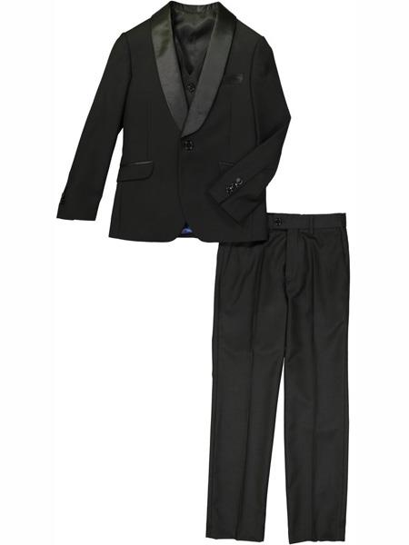 3 Piece Satin Collar Shawl Lapel Black Prom ~ Wedding Groomsmen Tuxedo Suit