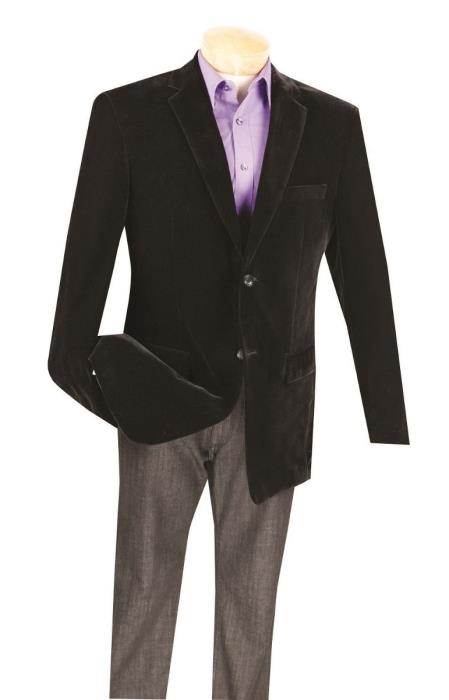 2 Button Velvet Big and Tall Large Man ~ Plus Size Black Blazer