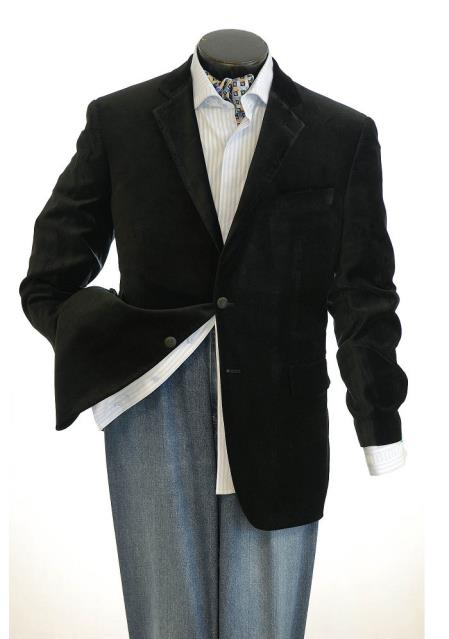 Black  2 Button Velvet  Big and Tall Large Man ~ Plus Size  Blazer