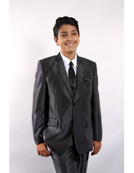 3 ~ Three Piece  Black Toddler Suits for Weddings Vested w/Shirt, Tie & Hanky Stylish Sheen