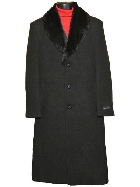 50s Men's Jackets| Greaser Jackets, Leather, Bomber, Gaberdine Mens Fur Collar Black 3 Button Single Breasted Wool Full Length Overcoat $186.00 AT vintagedancer.com