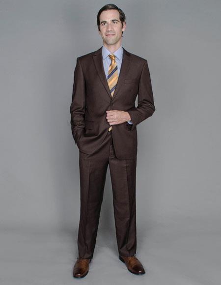 Single Breasted Brown Wool Suits