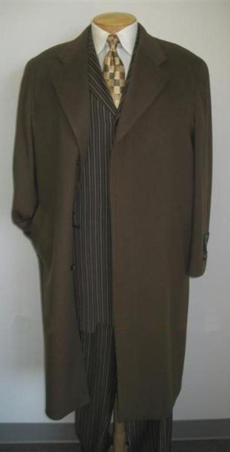 Men's Vintage Style Coats and Jackets Topcoats  overcoats for men Full Length Chocolate Coco Chocolate brown CoCo overcoats for men Wool fabric Blend Single Breasted Three buttons Fully Lined $173.00 AT vintagedancer.com