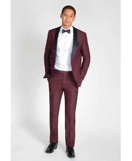 Burgundy Slim Fit Black Shawl Lapel Tuxedo / Graduation Homecoming Outfits