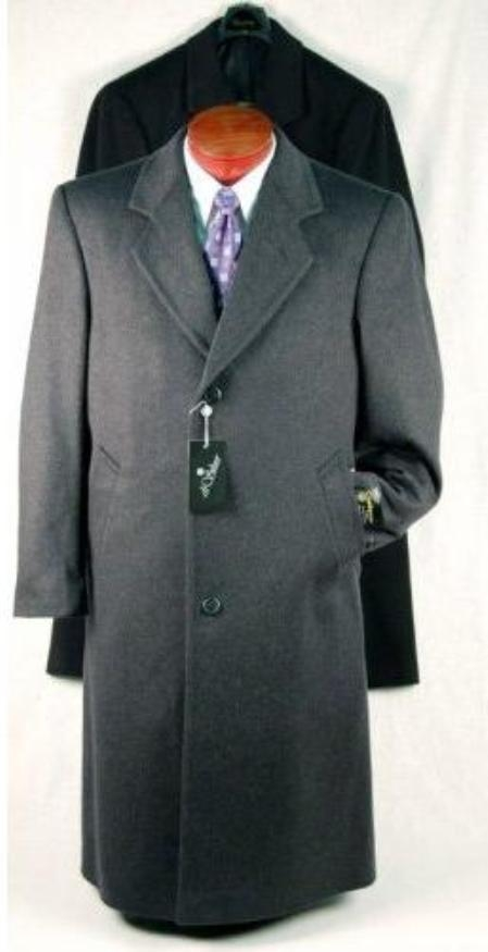 1900s Edwardian Men's Suits and Coats Darkest Charcoal Masculine color Gray Single Breasted Wool fabric Blend Topcoats  overcoats for men Long length 46 inches in length $150.00 AT vintagedancer.com