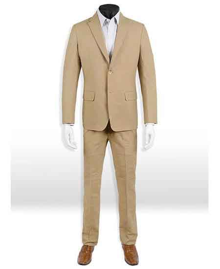 2 Button Dark Tan Wedding / Prom ~ Taupe ~ Khaki Suit