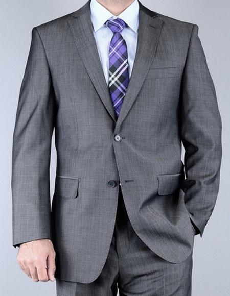 Single Breasted Gray Wool Suits