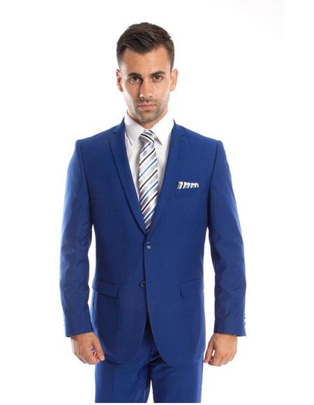 Royal ~ Bright Light Blue Perfect for wedding Indigo ~ New Blue ~ Cobalt 2 Button Front Slim Fit Double vents Suit