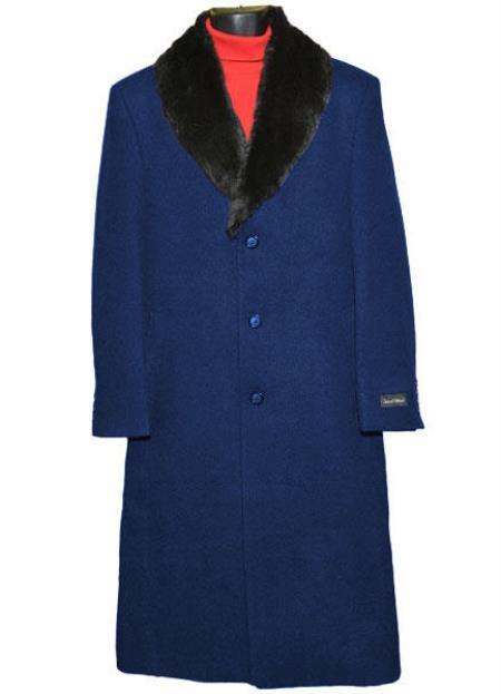 50s Men's Jackets| Greaser Jackets, Leather, Bomber, Gaberdine Navy Blue Fur Collar Single Breasted 3 Button Wool Full Length Overcoat  Topcoat 0.95 Woo $248.00 AT vintagedancer.com