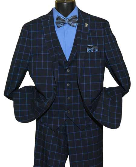 1930s Style Mens Suits Mens Single Breasted Windowpane Peak Lapel 2 Button Side Vent Navy Blue Vested Suit $183.00 AT vintagedancer.com
