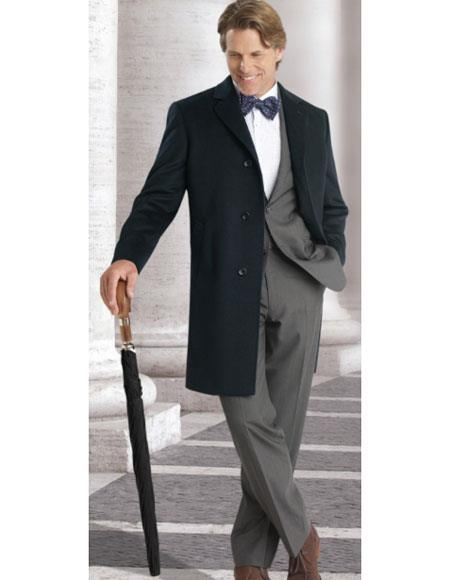 New Vintage Tuxedos, Tailcoats, Morning Suits, Dinner Jackets Navy 3 Buttons Single Breasted Long Jacket Modern Fit Overcoat $1,056.00 AT vintagedancer.com
